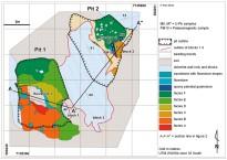 A malapai 1. és 2. verem felülnézeti geológiai térképe. Pickering et al. 2011 nyomán
